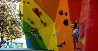Janja and Ashima on the final boulder, taking out their respective titles